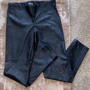 Black imitation leather pants